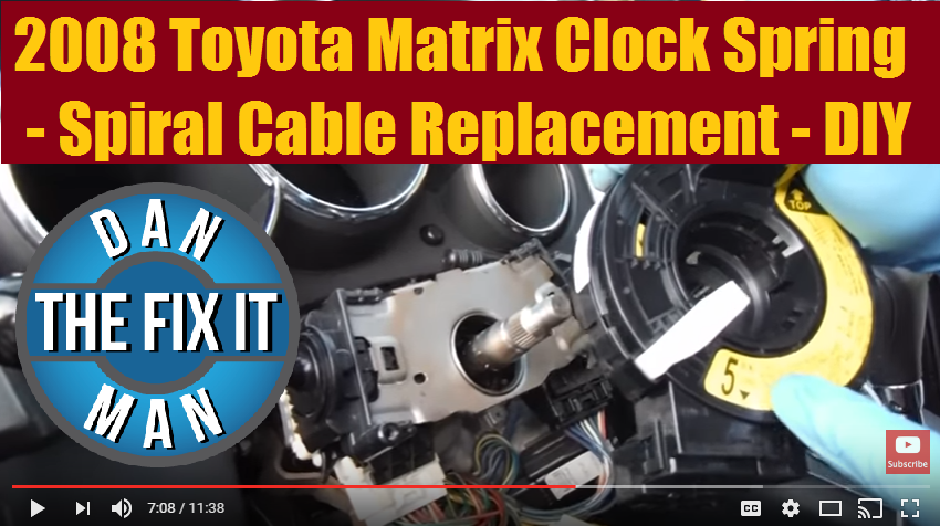 2008 toyota matrix \u0026 corolla spiral cable clock spring \u2013 diy \u2013 absjust a quick video on how i replaced a spiral cable a k a the clock spring on a 2008 toyota matrix the abs light was on, and the dealer told the owner